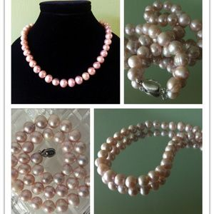 "New 10mmX16.5"" Pink Pearl  Necklace"